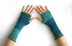 Elegant woman gloves in shades of teal and turquoise, knit fingerless gloves mittens, long glove mitten, arm warmers