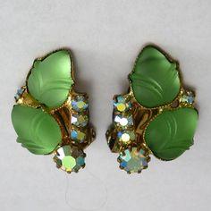 Molded Glass Flower & Rhinestone Earrings by VintageJewelsAndMore