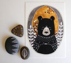 Bear Illustration - Animal Art Painting - Black Friday Cyber Monday - Archival Print - 5x7 Rafi the Honey Bear. $12.00, via Etsy.