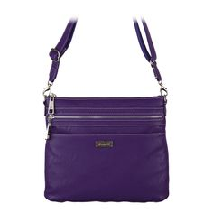 """Kinley-Grape Bag  Your Price:  $80.00 Polished hardware and contrast stitching anchored by a sleek tote architecture, with a strap that adjusts from shoulder to cross-body. Exterior zip pockets form a graphic stripe from front to back  • 11.5"""" L, 10"""" H, 2.5"""" W • faux leather • Adjustable cross-body strap with 24.5"""" drop • Intelligent interior organization with secure zip-top • Stylish metal zippers on front and back #graceadele #purse #fashion #crossbody #grape #purple"""
