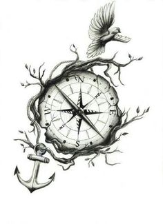 Nautical compass, anchor tattoo