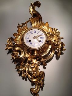 Cartel d'Alcôve en Bronze XIXe, style Louis XV - cartels anciens Tambour, French Clock, Style Louis Xv, Bronze, Objet D'art, Clocks, Bracelet Watch, Display, Bracelets