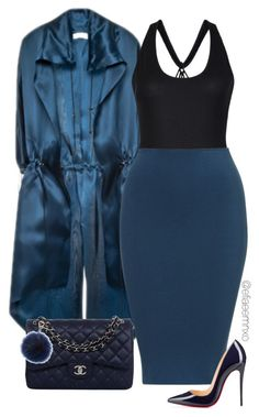 """""""Feeling blue"""" by efiaeemnxo ❤ liked on Polyvore featuring Lucas Nascimento, Christian Louboutin, Chanel and Fendi"""
