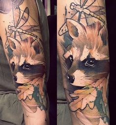 Bob Mosquito raccoon tattoo Two of my favorites raccoons and dragonflies Couple Tattoos, Leg Tattoos, Flower Tattoos, Body Art Tattoos, Tattoos For Guys, Raccoon Tattoo, Raccoon Art, Fox Tattoo, Elephant Tattoos