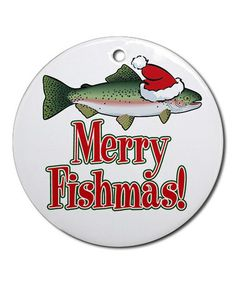Take a look at this 'Merry Fishmas' Round Ornament by CafePress on #zulily today!