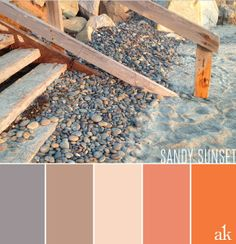 cream and gray palette   ... beach-sunset-inspired color palette // gray, taupe, cream, and orange
