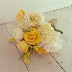 Wedding bouquet, artificial flowers - yellow, cream, white, gold ribbon. Handmade by Hart by Hayley