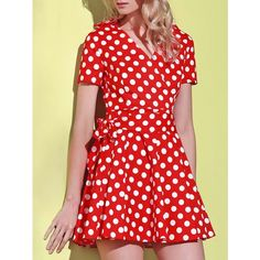 Belted Polka Dot Short Sleeve Wrap Dress ($17) ❤ liked on Polyvore featuring dresses, belted dresses, short-sleeve dresses, spotted dress, red polka dot dresses and dot dress