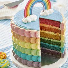 Layer cake rainbow cake