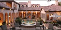 44 Modern Courtyard Design Ideas - Southwestern architecture and adobe homes are not complete without a courtyard feature. Popular with Arizona homeowners, as in history, the courtyard . Hacienda Style Homes, Tuscan Style Homes, Spanish Style Homes, Spanish House, Spanish Revival, Spanish Colonial, Modern Courtyard, Courtyard Design, Courtyard House