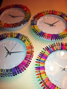 Decorate a plain wall clock with crayons... simple and cute for a classroom! (picture only)