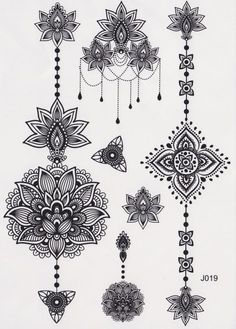 Black and White Assorted Lotus Temporary Tattoo Sheet, Mandala Tattoo, Temporary Tattoo Mandala, ~ CLIP ART GALORE ~ Lotus Tattoo, Aztec Tattoo, Tribal, Black and White, Henna Art, Maori Art, Polynesian