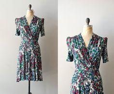 1940s dress / rayon 40s dress / Calandrinia dress by DearGolden, $224.00