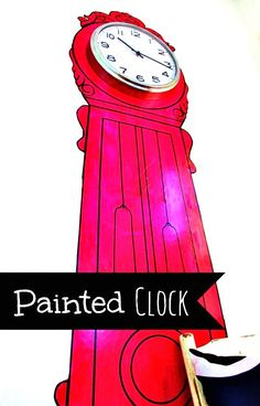 Easy idea to fill up a blank wall.  Love the painted clock and then add an inexpensive clock at the top to make it pop!