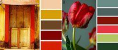Красный с коричневым, бежевым, персиковым