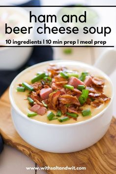 This easy healthy beer cheese soup is super creamy and comfortin with bacon and white cheddar! You can use leftover ham for this healthy soup recipe and it holds well so make sure to add it to your meal prep for the week line up! Healthy Beer, Healthy Soup Recipes, Healthy Meal Prep, Easy Chicken Recipes, Clean Eating Recipes, Healthy Food, Healthy Eating, Cooking Recipes, Beer Cheese Soups