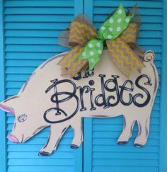 Show Pig Door Hanger by WhimsyGirlArt on Etsy, $35.00
