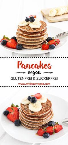 Vegane Pancakes ohne Zucker und #glutenfrei #vegan