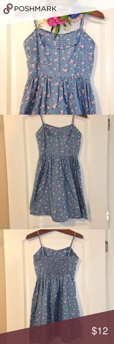 """Floral Chambray Dress Floral chambray dress with adjustable straps and elastic back from Forever21. Size: M. Color: blue. 100% cotton. Length from top of bodice to bottom hem approx 27"""". Forever 21 Dresses"""