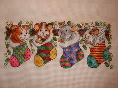 Cross Stitch A to Z: Cross Stitch Card Shop 98 - pets in stockings