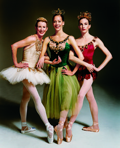"Darci Kistler, Maria Kowroski, and Wendy Whelan in costume for George Balanchine's ""Jewels"" - Photographed by Joseph Cultice for Vogue, January 2004."