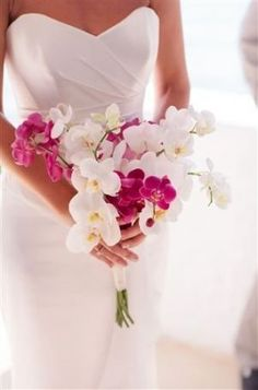 mykonos wedding, bridal bouquet with orchids phalaenopsis. The perfect bouquet White Orchid Bouquet, Orchid Bridal Bouquets, Purple Wedding Bouquets, White Wedding Flowers, Bride Bouquets, Bridal Flowers, Flower Bouquet Wedding, White Orchids, Boquet