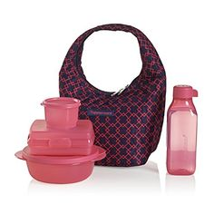 Tupperware Pink Diamond Lunch Bag Set - Make convenience food a thing of the past. Join the hottest trend in food and pack a healthy, homemade meal in this stylish set. Includes insulated bag Q, CrystalWave® 2½-cup/600 mL Bowl, Sandwich Keeper, Snack Cup and 16-oz./500 mL Square Eco Water Bottle.