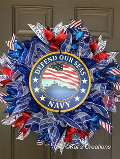 Love making these military wreaths and can make them for all branches of service. Patriotic Wreath, Patriotic Decorations, 4th Of July Wreath, Military Gifts, Navy Military, Diy Wreath, Wreath Ideas, Mesh Wreaths, Burlap Wreath