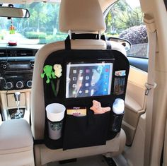 """Car Organizer by AutoMuko iPad and Tablet Holder with Car Seat Organizer - Touch Screen Pocket for Android & iOS Tablets up to 9.5"""" -With One-year Limited Warranty  I like some thing along the lines of this onehttp://www.travelsystemsprams.com/"""