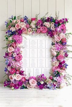 Beautiful floral framed placecards incorporating 2014 color Radiant Orchid, Photo Source: Pearl Events #placecards #reception #escortcards #floralframe