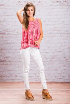 This tank is too precious! The pink gingham is too cute! The fabric is so thin and flowing! Which is why it's great that it's layered! This tank will look greet on a summer picnic with skinnies or shorts!