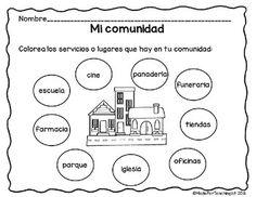 Mi comunidad - Hojas de tarea Community Helpers, English Class, Teaching Spanish, Grade 1, Kindergarten, Language, Teacher, Education, Science