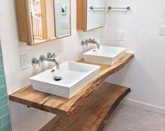 33 Ideas For Bathroom Ideas Wood Vanity Counter Tops Bathroom Vanity Makeover, Bathroom Vanity Tops, Vanity Decor, Wood Vanity, Wood Bathroom, Bathroom Furniture, Small Bathroom, Bathroom Ideas, Vanity Ideas