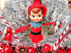 Vintage Elf and Candy Canes Kitsch Christmas Wreath