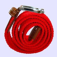 Plain Woven - Elasticated Fabric - Silver Toned Buckle Belt - Red - http://www.bassinandbrown.com/belts/plain-elasticated-fabric-woven-silver-toned-buckle-belt-red.html