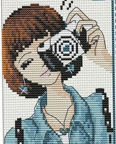 I would make her hair pink like mine. Xmas Cross Stitch, Cross Stitching, Cross Stitch Embroidery, Cross Stitch Designs, Cross Stitch Patterns, Stitches Wow, Stitch Doll, Cross Stitch Pictures, Pixel Art