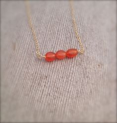 Dainty Carnelian Necklace w/ 14 K Gold Filled Chain / Minimalist Layering Gemstone Jewelry by MuffyandTrudy on Etsy
