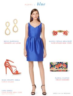 Bright blue dress for a wedding guest. Royal blue dress for a semi formal wedding guest. A cute bright cobalt blue dress shown with with poppy red accessories. Plus more bright blue dresses to wear to weddings! Blue Wedding Guest Outfits, Summer Wedding Outfits, Blue Wedding Dresses, Wedding Bridesmaids, Wedding Attire, Dress Wedding, Cobalt Wedding, Formal Wedding, Junior Summer Dresses