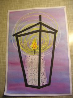 candle in a lantern Christmas Art For Kids, Christmas Arts And Crafts, Xmas Crafts, Winter Art Projects, Winter Painting, Art Lessons Elementary, Teaching Art, Creations, Advent