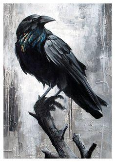 The Guardian - Raven print by Linzy Arnott . - zbild - The Guardian - Raven print by Linzy Arnott . The Guardian - Raven print by Linzy Arnott More - Kaan Tüylü - - Crow Art, Birds Painting, Birds Tattoo, Black And White Birds, Animal Art, Galaxy Painting, Drawings, Art, Bird Art