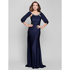 TS+Couture®+Formal+Evening+/+Military+Ball+Dress+-+Open+Back+Plus+Size+/+Petite+Trumpet+/+Mermaid+Scoop+Sweep+/+Brush+Train+Jersey+with+Beading++–+GBP+£+76.99