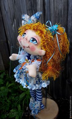 """Купить Текстильная кукла """"Радость моя"""" Василиска.. - синий, интерьерная кукла, текстильная кукла"""