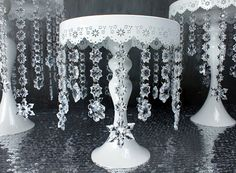 White Metal Round Cake Stand with Crystal Snowflake  by HaloDeLune