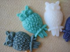 10PCS  Spring Pastels  Resin Owl Cabochons  25mm Matte by ZARDENIA, $10.95