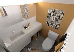 3D- sisustussuunnittelu / lasten keltainen wc, tehosteseinä maalattu, muualla valkoinen laatta. Wc-tilaan on helppo ja edullinen tehdä muutos maalaamalla tehosteseinään uusi väri tai laittaa siihen tapetti lasten kasvaessa! children´s yellow bathroom, toilet / 3D-sisustus Tilanna,  sisustussuunnittelija Jyväskylä
