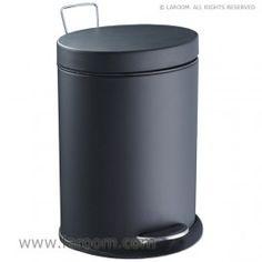 """Laroom - Papelera elíptica """"step"""" negro mate 5L. (cubeta extraible) - Laroom diseña las papeleras de Baño más bonitas del mundo - www.laroom.com"""