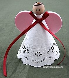 Crafty Journal - Sweetheart Angel using a white paper doily, plain wooden bead, foam heart, finished off with a ribbon.