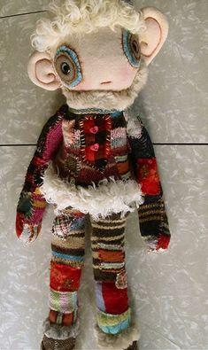 karna erickson  amazing recycled fabrics sweaters doll