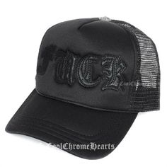 Black Leather FUCK Patch Trucker Chrome Hearts Cap