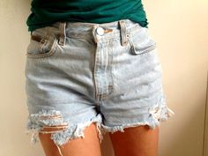 DIY Bleached and Distressed Denim Cutoff Shorts